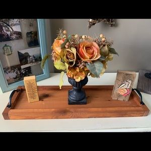 """Wooden Tray Centerpiece Candle Holder 24"""" x 7.25"""""""